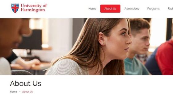 미국 국토안보부가 이민 사기 적발을 위해 설립한 가짜 대학 '파밍턴 유니버시티'의 홈페이지. [홈페이지 캡처]