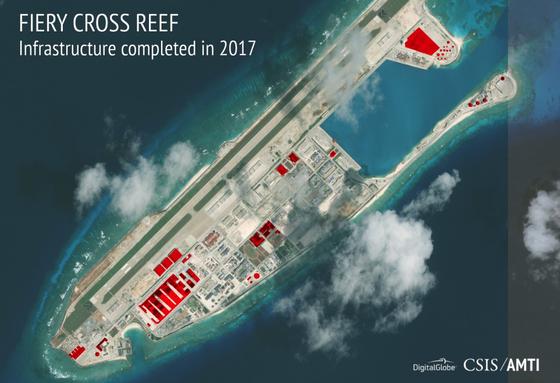 동중국해와 남중국해 일대 인공섬들이 중국의 신호정보 수집기지가 되고 있다. [사진 amti.csis.org]