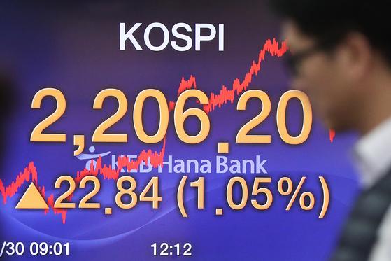 코스피 지수 2200선을 회복한 지난달 30일 오후 서울 중구 KEB하나은행 딜링룸. [연합뉴스]