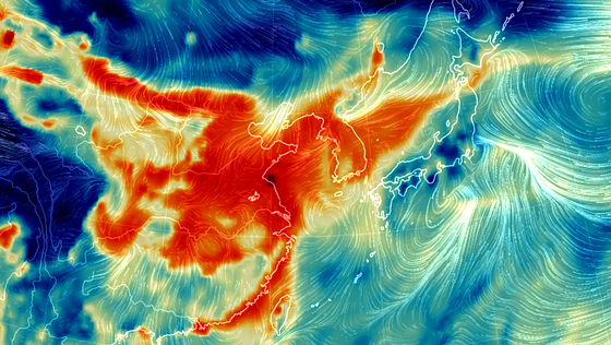 설 연휴 마지막 날인 6일 오후 2시 중국과 한반도 부분이 초미세먼지로 붉게 표시되고 있다.[어스널스쿨 홈페이지 캡처]