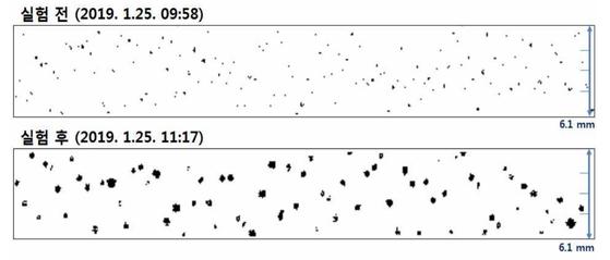 인공강우 실험 전후의 강수입자 크기의 변화. [기상청 제공]
