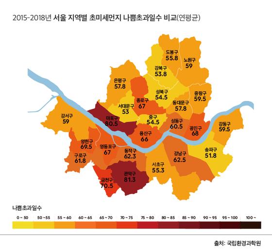 서울 초미세먼지 오염 지도. 한지영 디자이너