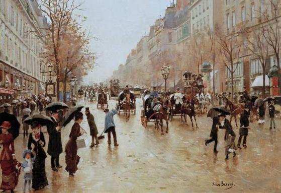 비 내리는 푸아소니에르 대로 - 장 브로(Jean Beraud, 1885). 카르나발레 미술관 소장. 초가을에 파리에 도착한 쇼팽은 이 거리의 한 건물 5층에 방을 구했다. [사진 송동섭]