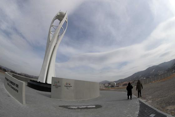 2018년 평창 동계올림픽 1주년(2월 9일)을 앞두고 올림픽 당시 개·폐회식장 인근 성화대가 있다. 김상선 기자