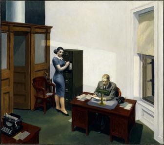 밤의 사무실(office at night, 1940), 에드워드 호퍼(edward hopper) [출처 위키피디아]