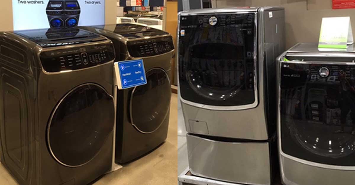 미국 가전 판매장의 삼성전자(왼쪽)와 LG전자 세탁기. [로스앤젤레스=연합뉴스]