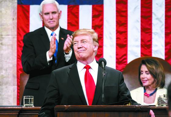 지난 6일 미 의회에서 2019년 국정연설을 하는 도널드 트럼프 미국 대통령.[AFP=연합뉴스]