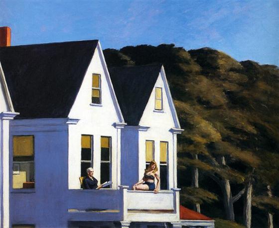 이 층의 햇빛(Second Story Sunlight, 1960), 에드워드 호퍼(Edward hopper), 101.6x127cm, 캔버스에 유채. [출처 위키아트]