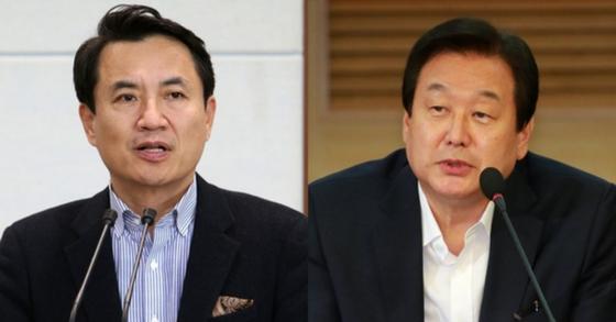 지유한국당 김진태 의원과 김무성 의원. [연합뉴스]
