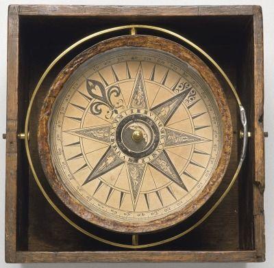 1750년경 쓰인 항해사들의 나침반.