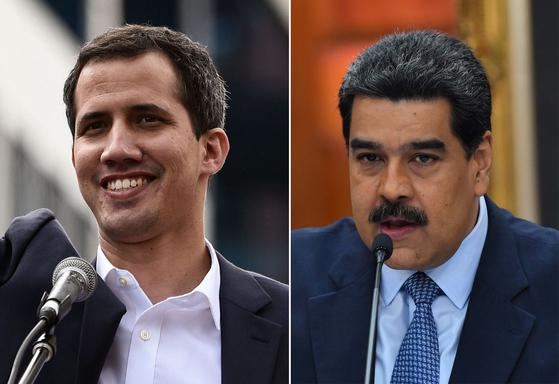 후안 과이도 베네수엘라 국회의장(좌)과 니콜라스 마두로 베네수엘라 대통령(우). [AFP=연합뉴스]