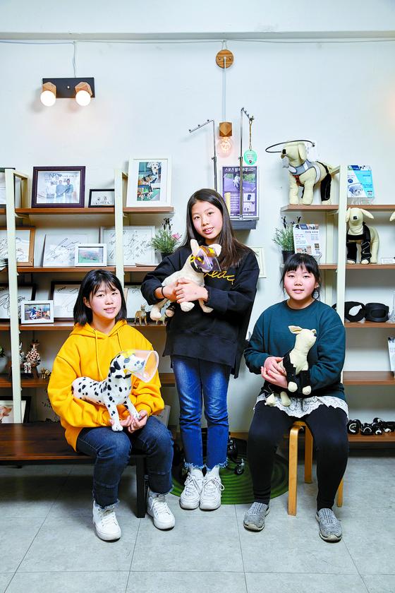 차연수(왼쪽)·손채은(오른쪽) 학생기자와 차연재(가운데) 학생모델이 강아지 인형을 안고 포즈를 취했다. 인형들은 반려동물을 위한 다양한 보조기구를 착용하고 있다.