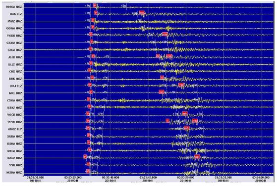10일 포항 앞바다에서 발생한 지진 파형 [자료 기상청]