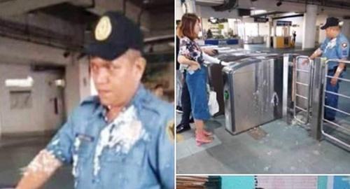 필리핀 대학에 재학 중인 중국인 장씨가 지난 9일 두유 푸딩의 일종인 '타호'가 담긴 플라스틱 컵을 들고 도시철도역 개찰구를 통과하려다 제지당하자 타호가 담긴 컵을 경찰관에게 던져 필리핀 사회가 발칵 뒤집혔다. [소셜미디어 캡처]