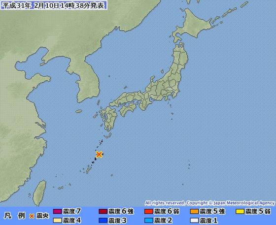 2월 10일 낮 일본 가고시마 지진 발생 지점 [자료 일본 기상청]