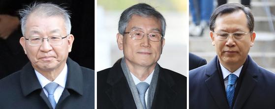 사진 왼쪽부터 양승태 전 대법원장, 고영한·박병대 전 대법관. [연합뉴스]