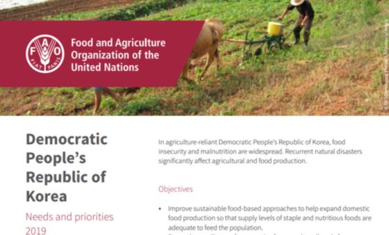 유엔식량농업기구(FAO)가 11일 내놓은 '2019 북한의 인도주의 필요와 우선순위' 보고서 표지. [ FAO 웹사이트]