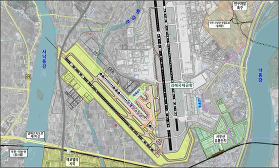 국토교통부의 김해 신공항 건설계획도.[제공 부산시]