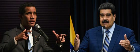후안 과이도 베네수엘라 국회의장(좌)과 니콜라스 마두로 대통령. [AFP=연합뉴스]