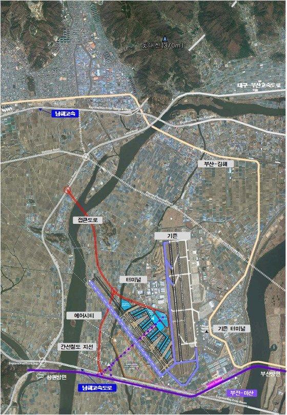 김해 신공항 건설 계획도. [부산시]