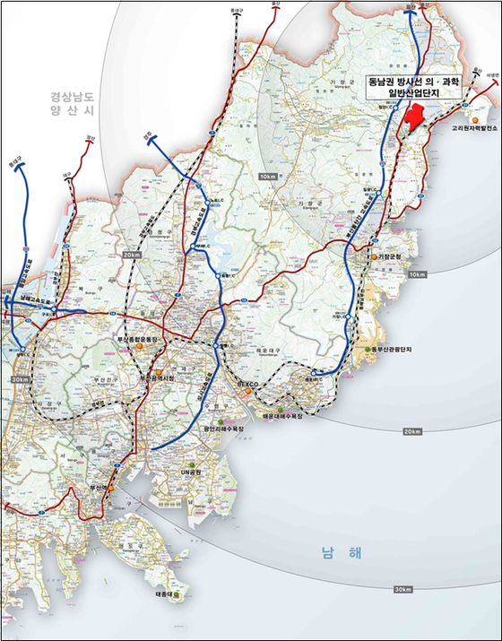 부산 기장군 장안읍의 동남권 의과학 일반 산업단지 위치. [제공 기장군]