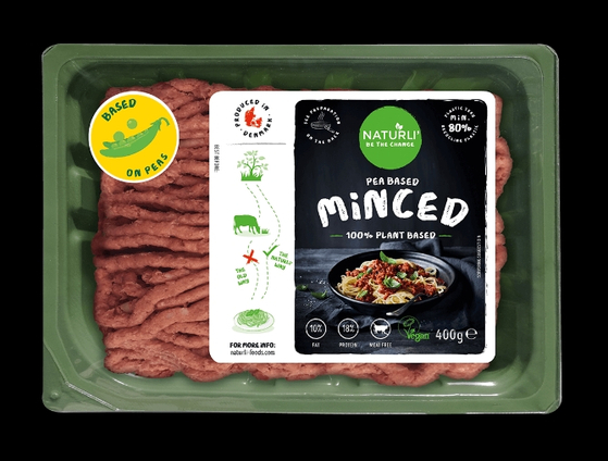 덴마크 육류대체품 제조업체 나투리가 만든 '완두콩 성분 고기'. 갈아 놓은 형태로 슈퍼마켓 정육 판매대에서 판매된다. [사진 나투리]