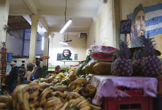올드 아바나 거리의 과일가게. 외국인 관광객의 발길이 뜸한 지역인데도 벽에 게바라가 걸려 있다. 손민호 기자