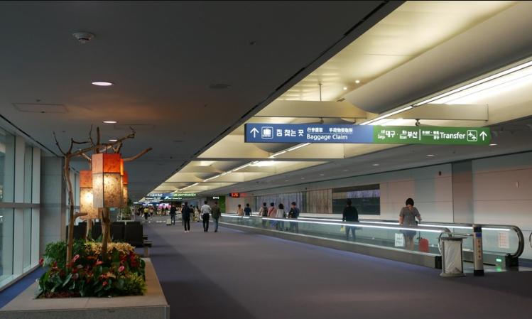 대리석 바닥인 출국장과 달리 푹신한 카펫이 깔린 인천공항 입국장. [블로그 캡처]