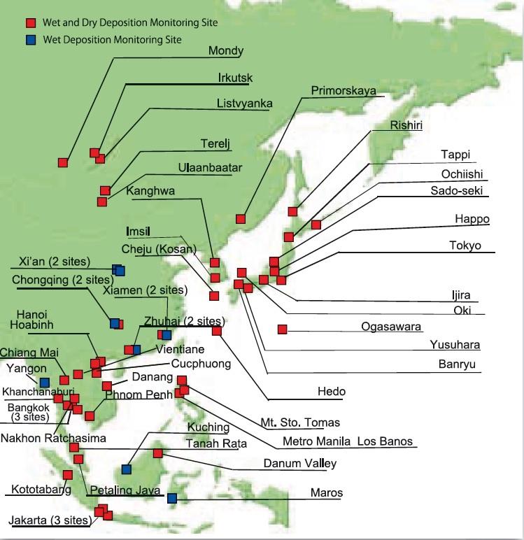 동아시아 산성 강하물 모니터링 네트워크(EANET)의 산성비 관측 지점 [자료 EANET]