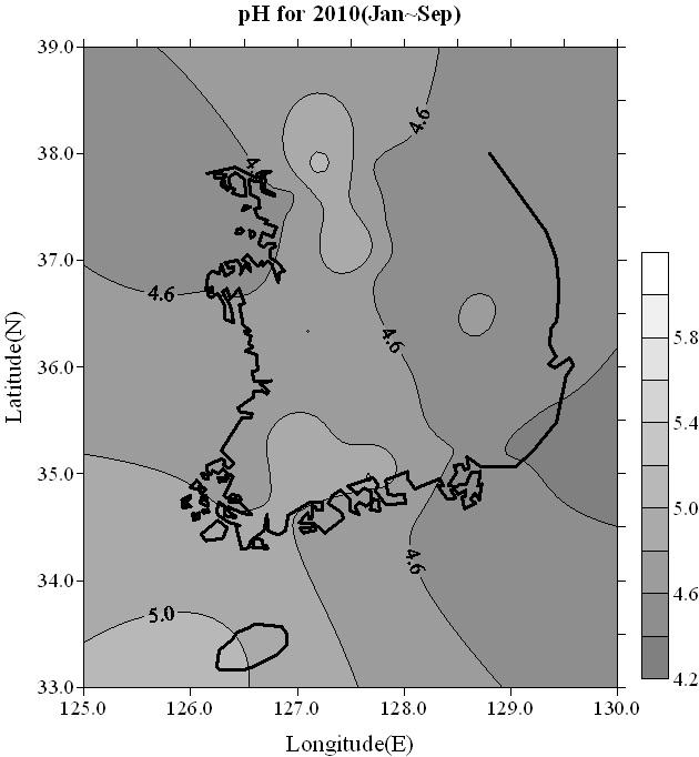 국내 빗물의 산성도(pH) 2010년 1~9월 [자료 국립환경과학원]