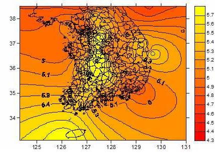 국내 빗물의 산성도(pH) 2013년 1월~2014년 9월 [자료 국립환경과학원]