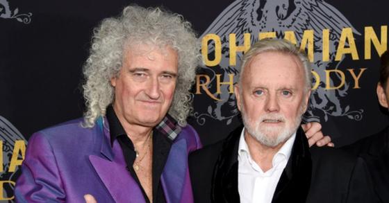 지난해 10월 말 영화 '보헤미안 랩소디'의 미국 뉴욕 시사회에 참석한 퀸의 멤버 브라이언 메이(왼쪽)와 로저 테일러. [AP=연합뉴스]