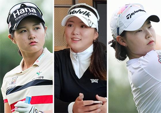 한국 여자골프는 세계 최고 수준의 선수와 우수한 행정 능력의 골프협회를 보유하고 있다. 사진은 신인으로 KLPGA 투어 개막전에서 톱 10에 든 박현경과 조아연, 임희정(왼쪽부터). 골프계에서는 1999, 2000년에 태어난 선수들이 한국 여자골프의 새로운 얼굴이 될 것으로 기대하고 있다. [KLPGA 박준석, 중앙포토]