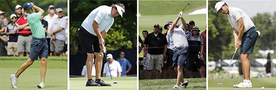 올해부터 PGA 투어에서도 연습 라운드 때 반바지 착용이 허용된다. 지난해 PGA 챔피언십 연습 라운드때 반바지를 입었던 조던 스피스와 필 미켈슨, 키건 브래들리, 제이미 러브마크(왼쪽부터). [AP=연합뉴스]