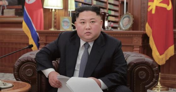 지난 1월 1일 노동당 중앙위원회 청사에서 신년사를 발표하고 있는 김정은 북한 국무위원장. [연합뉴스]