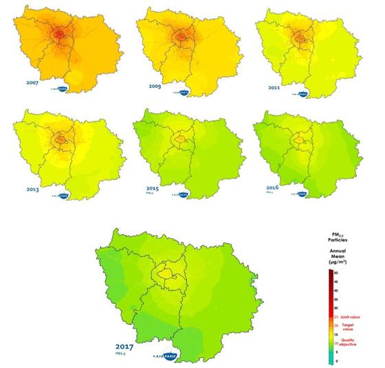 파리지역의 초미세먼지 오염도 변화. 붉은색이 진할수록 농도가 높다는 뜻이다. 해가 갈수록 초미세먼지 농도가 눈에 띄게 줄고 있다. [Airpariff 제공]