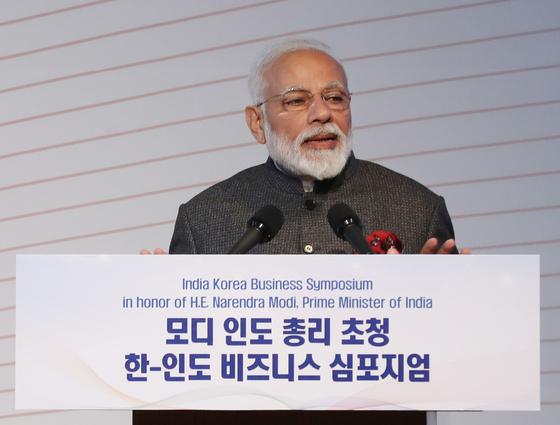 모디 총리, 한·인도 협력 단추 눌렀다…무역 규모 500억불 목표