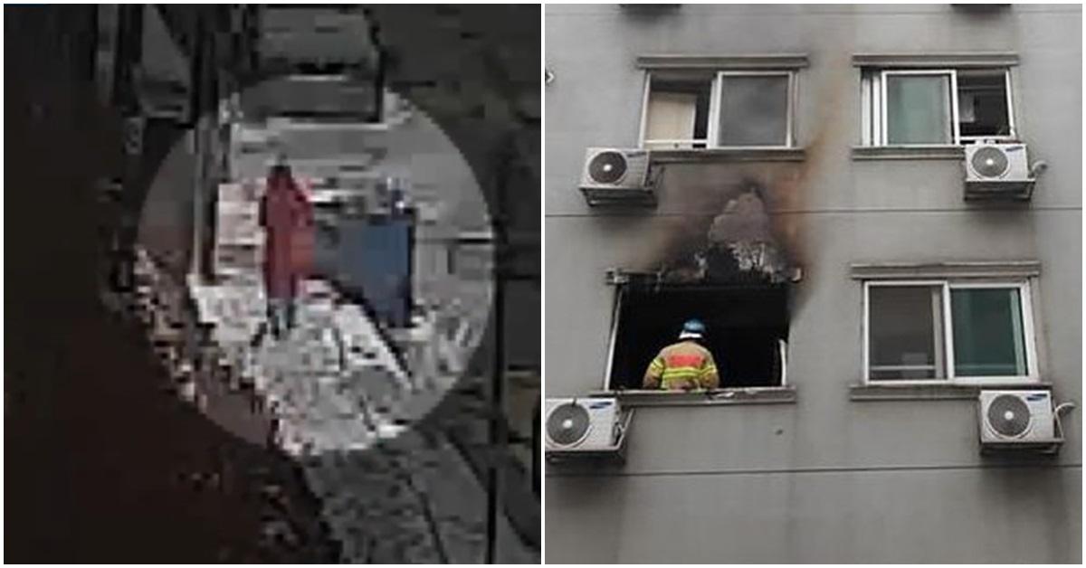 A씨가 자신이 살던 오피스텔에 불을 낸 후 오피스텔을 나가는 모습(왼쪽)과 불이 난 오피스텔. [사진 JTBC 방송 캡처, 연합뉴스]