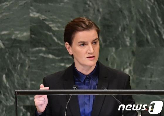 아나 브르나비치 세르비아 총리. [AFP=뉴스1]