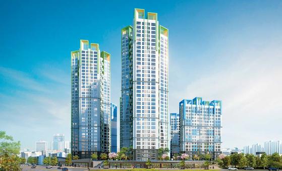 한강변 강남생활권 아파트인 워너스리버가 강남 시세의 절반 수준 가격에 조합원을 모집중이다. 이미지는 워너스리버 투시도.
