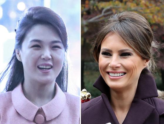 김정은 북한 국무위원장의 부인인 이설주 여사(왼쪽)와 도널드 트럼프 미국 대통령의 부인인 멜라니아 트럼프 여사. [연합뉴스]