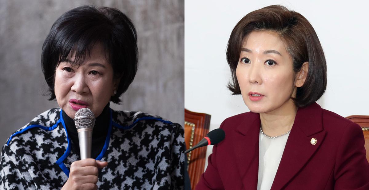 손혜원 무소속 의원(왼쪽)과 나경원 자유한국당 원내대표. [중앙포토]
