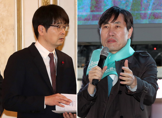 탁현민 대통령 행사기획 자문위원(왼쪽), 하태경 최고위원 [중앙포토]