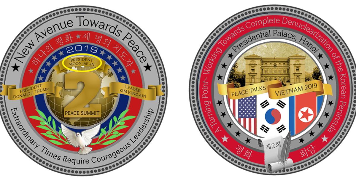 2차 북미정상회담을 기념해 미국 백악관이 공개한 기념주화. [미국 백악관 기념품 온라인 몰 캡처]