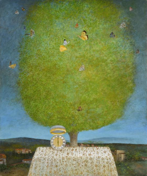 황규백, 'A TREE AND BUTTERFLIES'(2018,캔버스에 아크릴 앤 오일,122*100.7cm) [사진 가나아트센터]