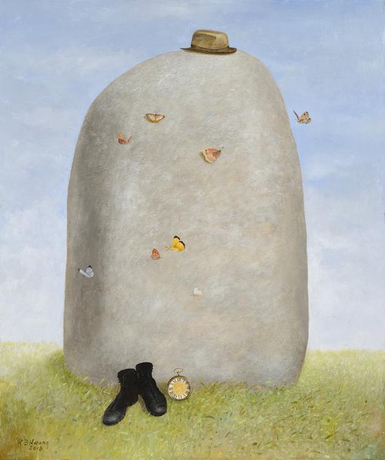 황규백, 'A ROCK WITH HAT'(2018, Acrylic and oil on canvas, 122 x 102 cm)[사진 가나아트센터]