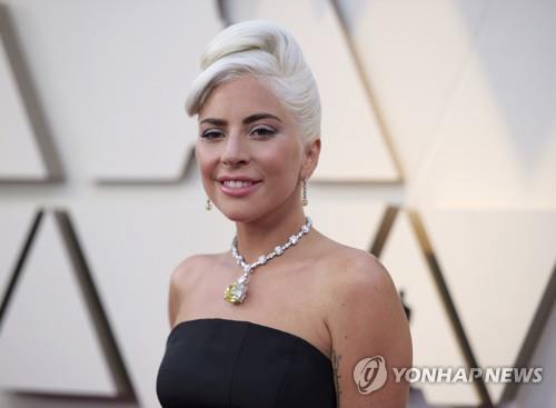 레이디 가가가 24일(현지시간) 제91회 아카데미(오스카) 시상식에 약 3000만 달러짜리 128캐럿 티파니 다이아몬드 목걸이를 착용하고 참석하고 있다. [AP=연합뉴스]
