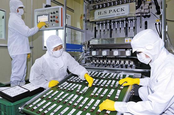 김영근 대표의 도토리 진액은 도토리 가루를 17시간 끓여 만든다. 사진은 충남 서천군의 공장에서 도토리 진액 제품을 생산하는 모습. 프리랜서 김성태