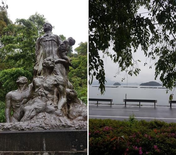 (좌) 침몰순간의 비극을 표현한 동상은 고국 방향을 바라보며 서 있다. (우) 바다 위의 작은 두 섬 사이가 침몰의 현장이다. [사진 홍미옥]