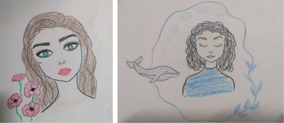 예멘 난민인 10대 소녀들이 그린 제주 고래. [사진 제주출입국·외국인청]